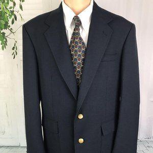 Stafford Men's Blazer Two Button Navy Blue 43 Long